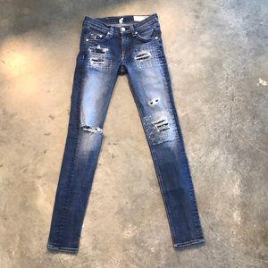 Rag & Bone skinny ripped skinny jeans